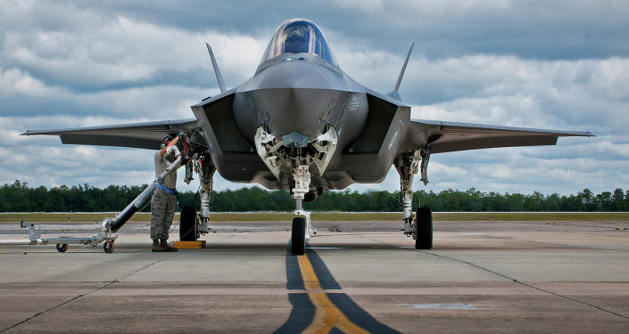 An F-35 being refueled at Eglin Air Force Base in Florida.