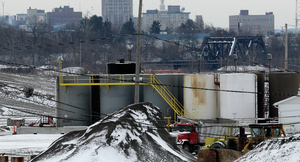 A brine injection well owned by Northstar Disposal Services LLC is seen in Youngstown, Ohio, with the skyline of Youngstown in the distance. A dozen earthquakes in northeastern Ohio were almost certainly induced by injection of gas-drilling wastewater into the earth, state regulators said Friday, March 9, 2012 as they announced a series of tough new rules for drillers. Fracking was halted in Ohio after two major earthquakes were felt in Youngstown in March, 2014.