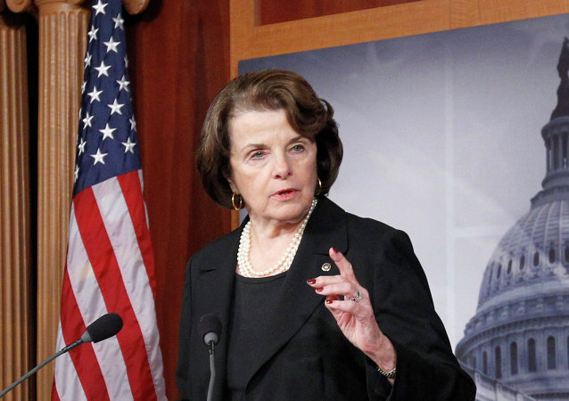 Senate intelligence committee chair, Sen. Diane Feinstein, D-Cal., speaking at Capitol Hill.