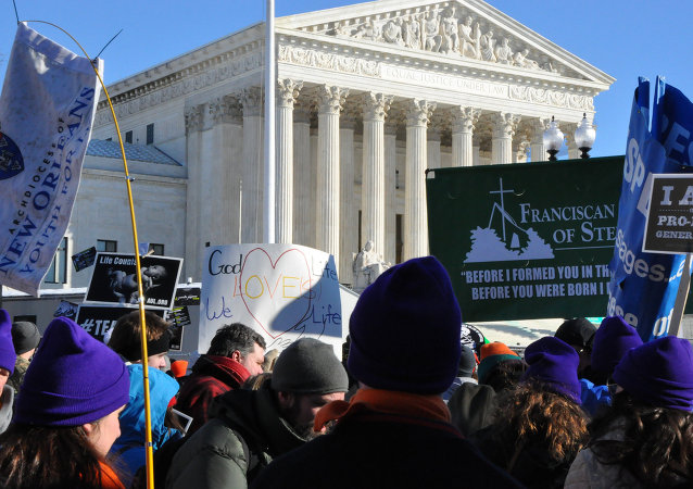 Pro-life protesters outside the Supreme Court.