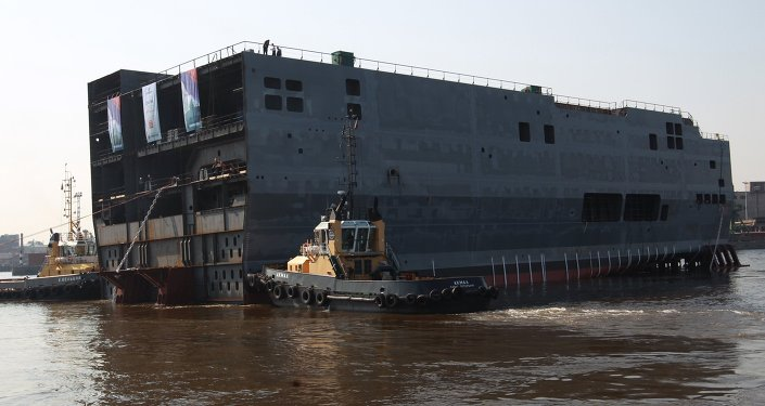 Launching stern of first Mistral helicopter carrier