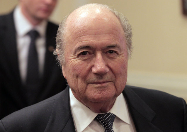 FIFA President Joseph Blatter participating in the signing of a declaration granting Russia the official status of the FIFA 2018 World Cup host