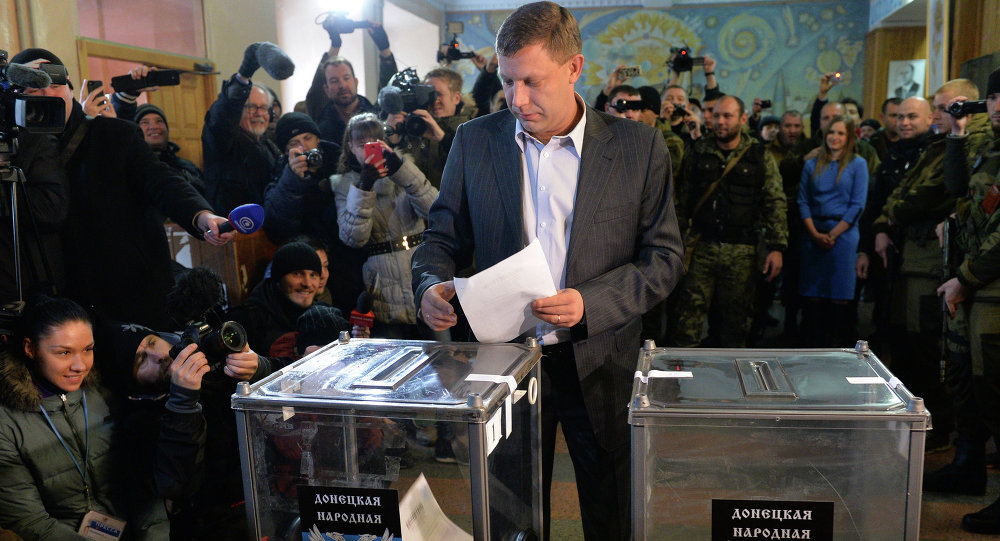 The prime minister of the Donetsk People's Republic Alexander Zakharchenko votes on elections of the head of DNR and deputies of National Council of the republic