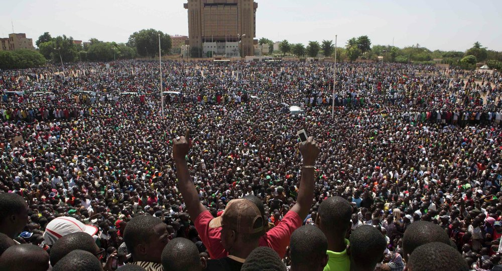 Anti-government protesters gather in the Place de la Nation in Ouagadougou, capital of Burkina Faso