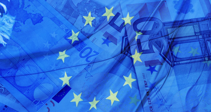 Money and flag of the European Union