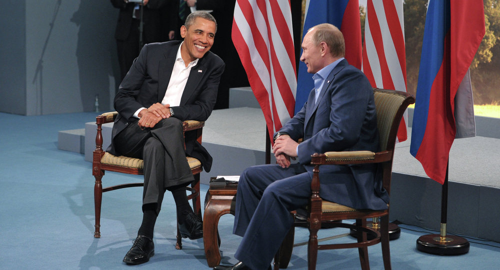 US President Barack Obama meets with Russian President Vladimir Putin during the G8 Summit at Lough Erne in Enniskillen, Northern Ireland, June 17, 2013