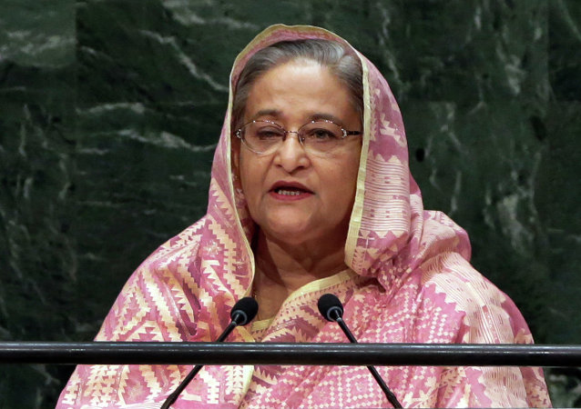 Prime Minister Sheikh Hasina, of Bangladesh, addresses the 69th session of the United Nations General Assembly, at U.N. headquarters
