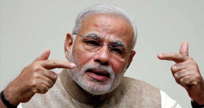 India's Prime Minister Narendra Modi gestures