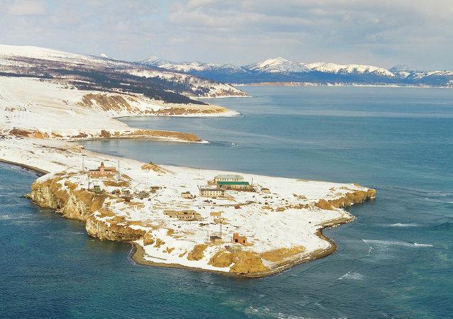 A view of Cape Krilyon at La Perouse Strait, Russia's Sakhalin Region