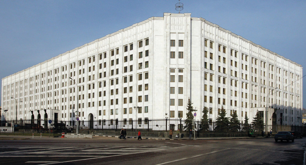 The Russian Defense Ministry building in Arbatskaya Square in Moscow