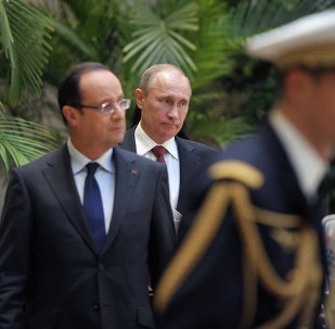 Vladimir Putin meets with Francois Hollande in the Kremlin