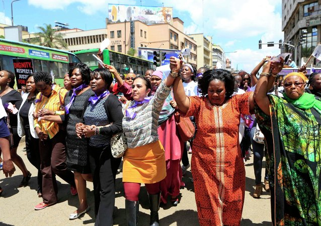 Women take part in a protest