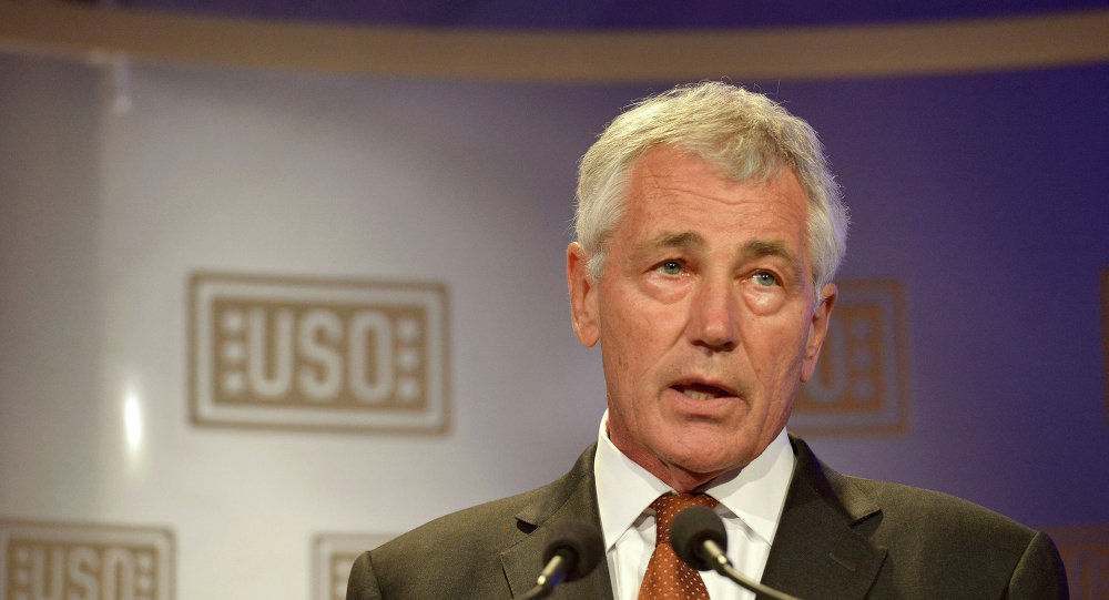 Secretary of Defense Chuck Hagel delivers remarks to launch the 2014 USO Gala held in Washington, D.C. Oct. 17, 2014.
