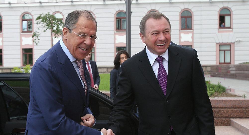 Russian Foreign Minister Sergei Lavrov meets his Belarussian counterpart Vladimir Makei