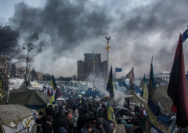 The camp of pro-European integration protesters on Maidan Nezalezhnosti in Kiev