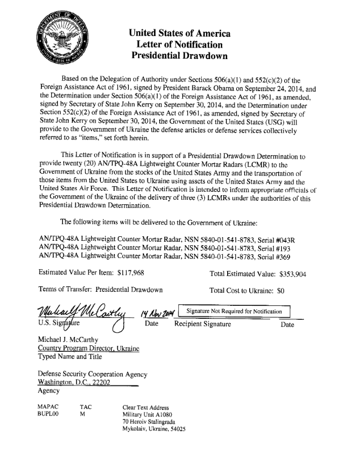 This document contains signatures of Barak Obama and John Kerry. The United States will provide Ukrainian Armed Forces with counter-mortar radars