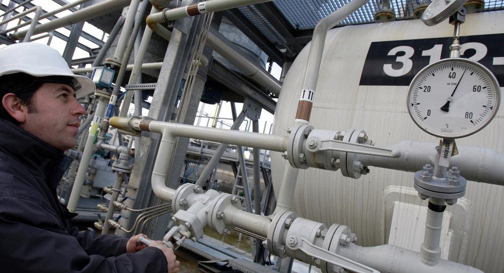 A Turkish technician checks the valves at a natural gas storage facility in Silivri, near Istanbul, Turkey