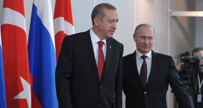 Vladimir Putin meets with Recep Tayyip Erdogan