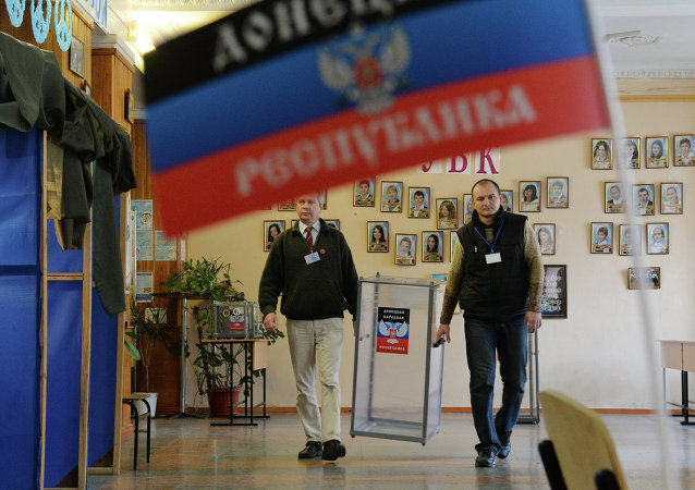Members of an election commission in school No.1 of Donetsk.