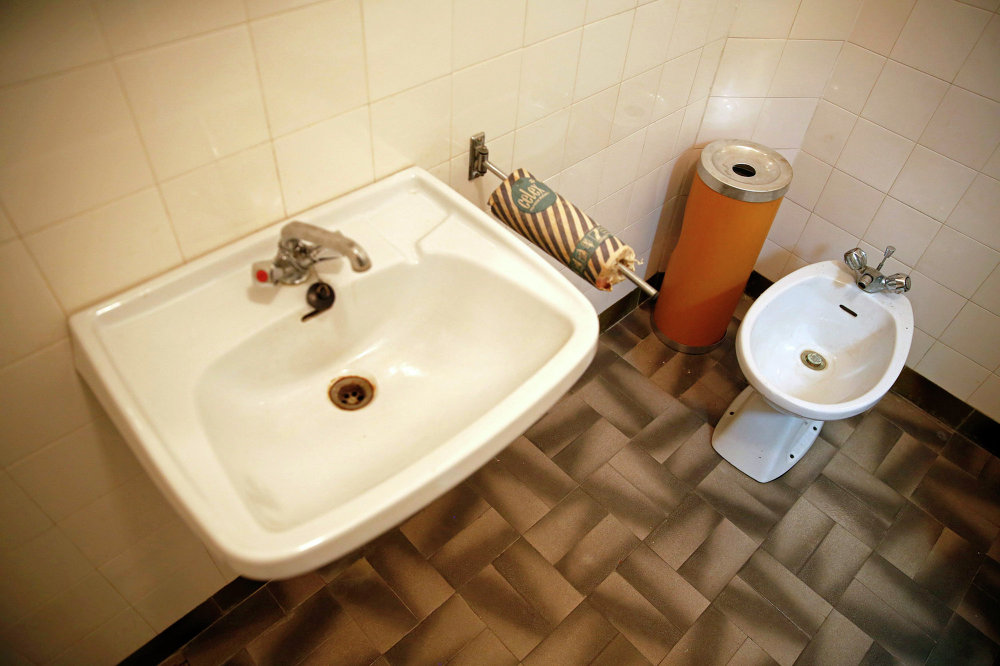 Josip Broz Tito's private toilet is seen in his underground secret bunker (ARK) in Konjic