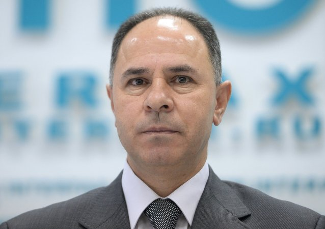 Fayed Mustafa, Ambassador Extraordinary and Plenipotentiary to Russia, at a news conference in Moscow