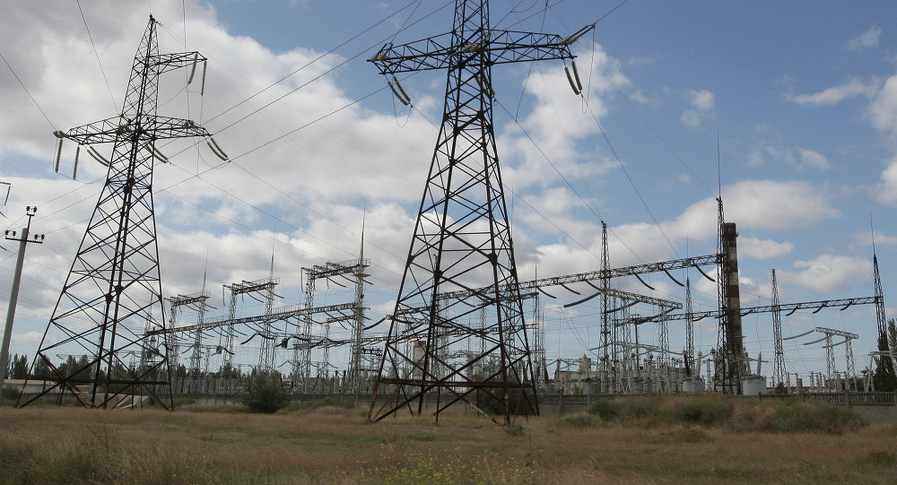 Pylons of a power transmission line