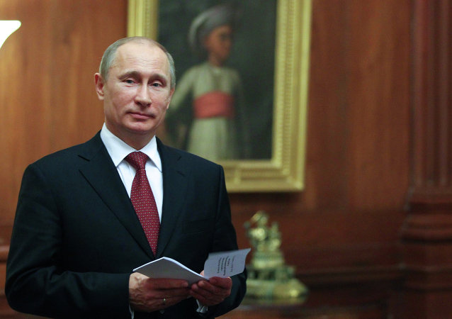 President Vladimir Putin at the Presidential Palace in New Delhi