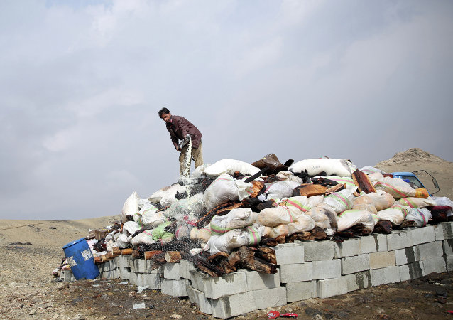 An Afghan man prepares to set opium and narcotics on fire during a drug burning ceremony on the outskirts of Kabul, Afghanistan, Wednesday, Oct. 29, 2014