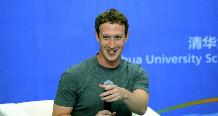 Mark Zuckerberg speaks during a dialogue with students