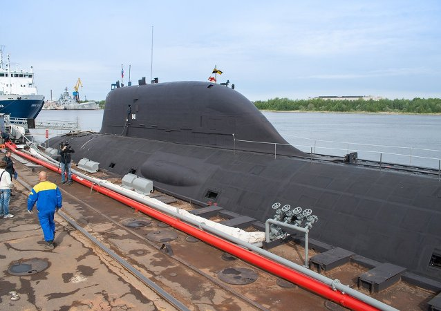 The first multirole Yasen K-560 Severodvinsk submarine by the pier of the Sevmash shipyard in Severodvinsk