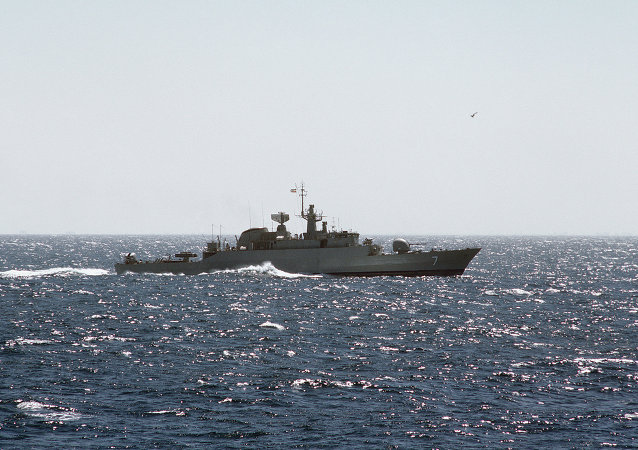 An Iranian Alvand class frigate at sea.