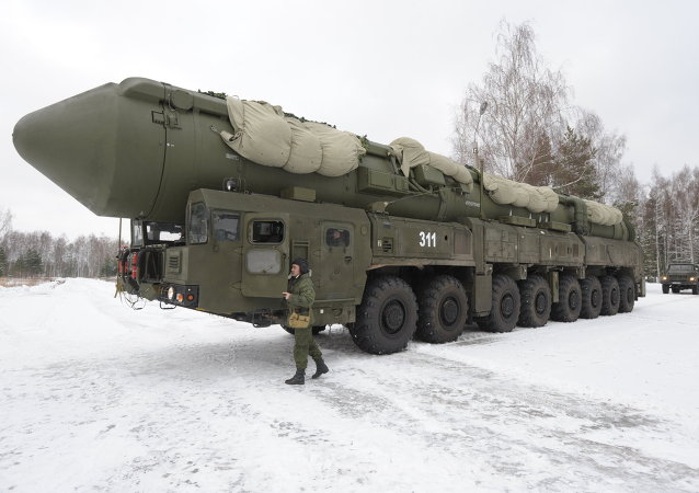 Mobile launcher 'Yars' missile system on the territory of Teykovo air defence missile formation in Ivanovo region.
