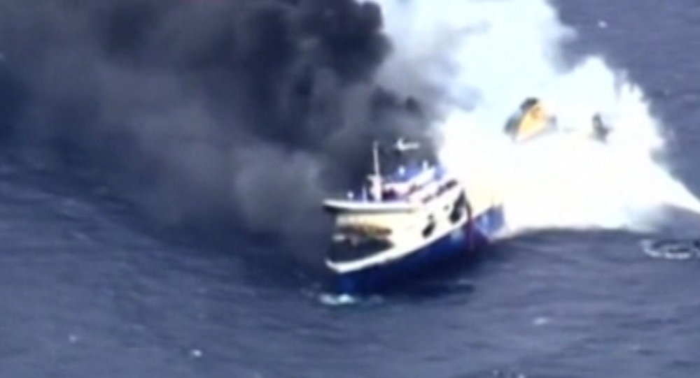 Fire Strikes Norman Atlantic Ferry in the Ionian Sea; Footage From the Scene