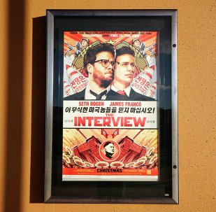 The poster for the film The Interview is seen outside the Alamo Drafthouse theater in Littleton, Colorado December 23, 2014