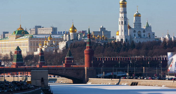 View of the Kremlin Wall, Kremlin cathedrals and the ice-bound Moskva River.