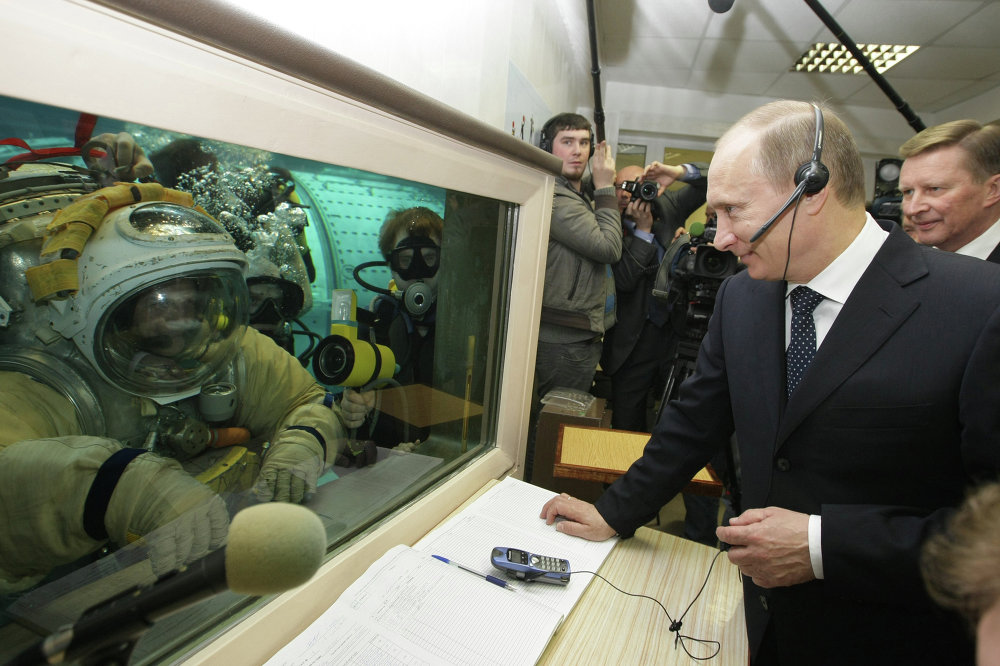 Russian Prime Minister Vladimir Putin visits Yuri Gagarin Research and Testing Cosmonaut Training Center