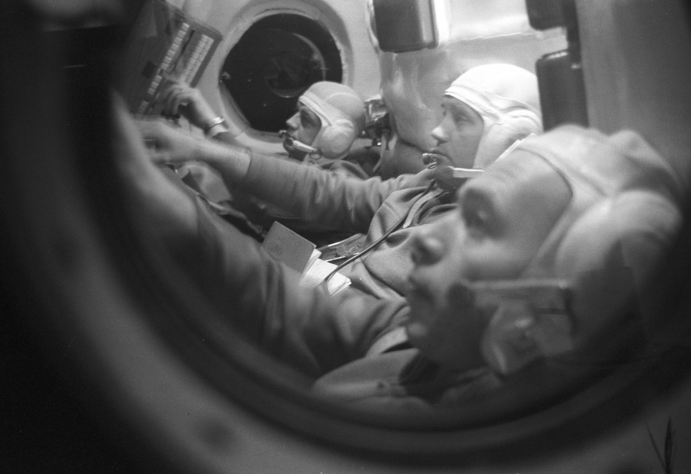 Crew of Soyuz 11 spacecraft training inside spacecraft simulator, Gagarin Cosmonaut Training Center
