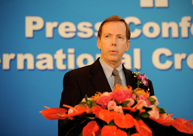 President Sean Egan of Pennsylvania based Egan-Jones Ratings (EJR) makes a speech at a press conference in Beijing on October 24, 2012