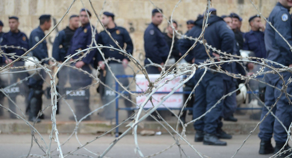 Security forces standing near the French embassy in Beirut