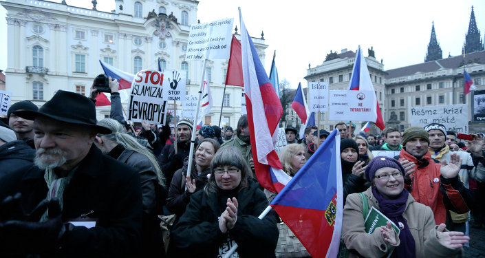 Hundreds of people gather during an anti-Islam rally in Prague, Czech Republic, Friday, Jan. 16, 2015