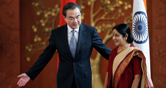 Indian External Affairs Minister Sushma Swaraj, right, and her Chinese counterpart, Wang Yi