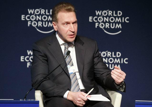 First Deputy Prime Minister of Russia Igor Shuvalov gestures as he speaks during a panel The Russian Outlookat the World Economic Forum in Davos, Switzerland, Friday, Jan. 23, 2015