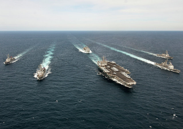 The Enterprise Carrier Strike Group transits the Atlantic Ocean