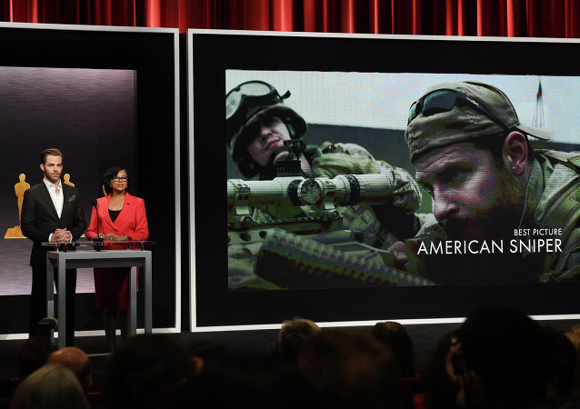 Hosts Chris Pine and Academy President Cheryl Boone announce the movie 'American Sniper' as one of the Oscar nominees for Best Picture