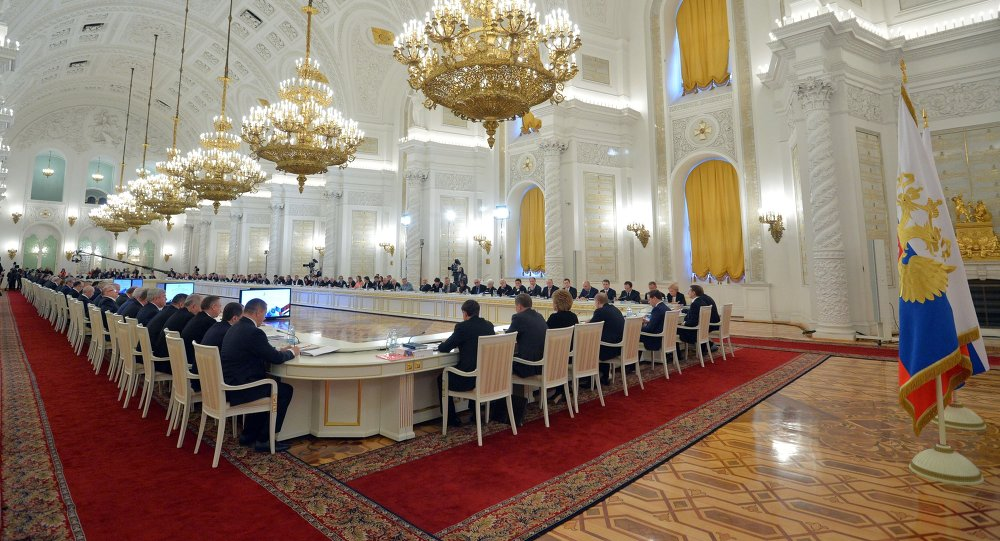 General view of the meeting of the State Council in Moscow's Kremlin, Russia, on Wednesday, Dec. 24, 2014. The meeting of the State Council focused on government efforts to support culture.