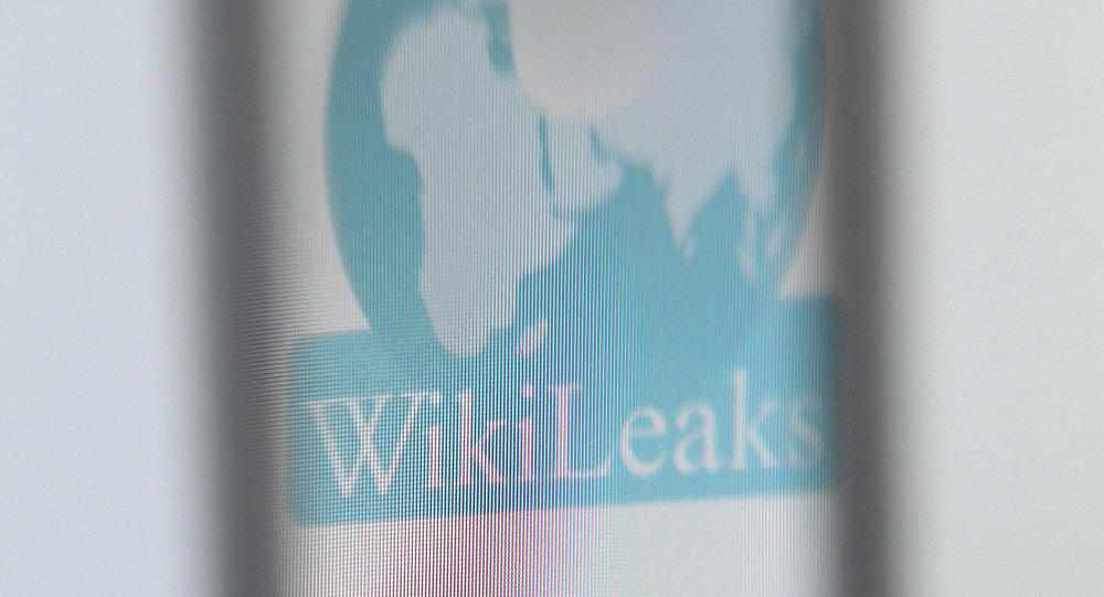 The logo of the website specialised in publishing secret documents WikiLeaks