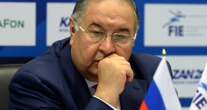 Alisher Usmanov during a news conference