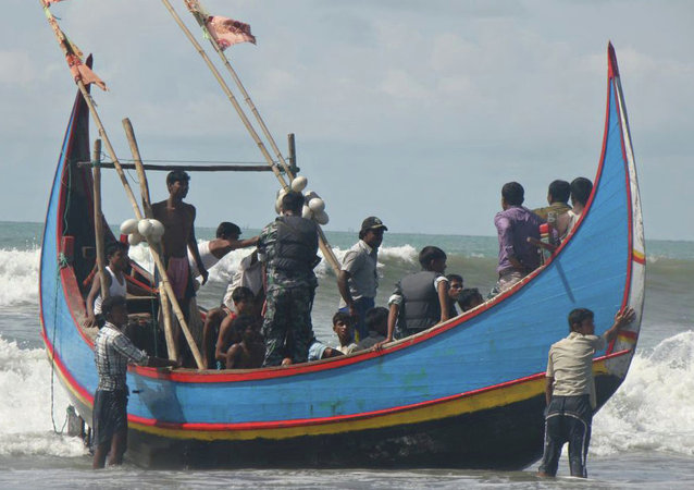 A migrant boat in South East Asia