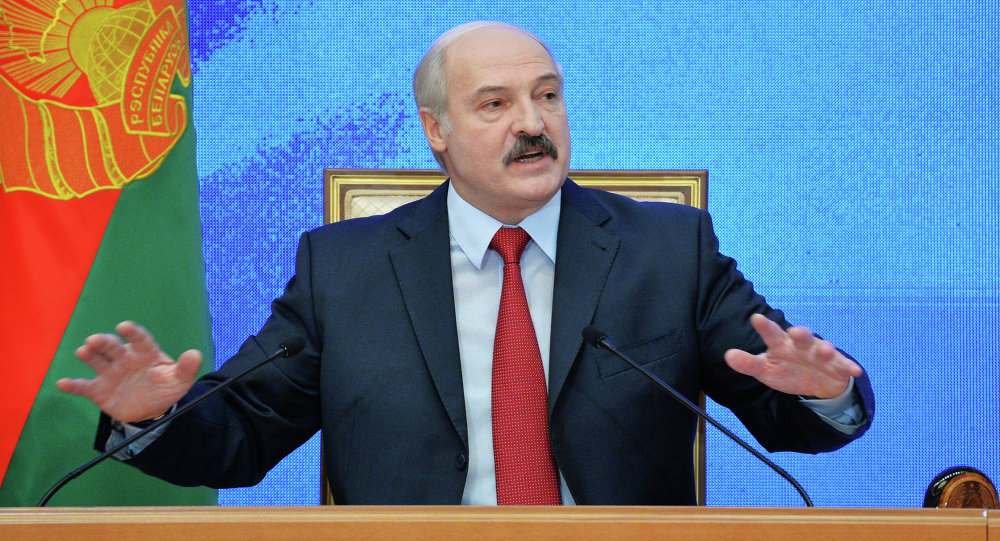 President of Belarus Alexander Lukashenko gives a news conference for Belarusian and foreign media at Independence Palace, Minsk