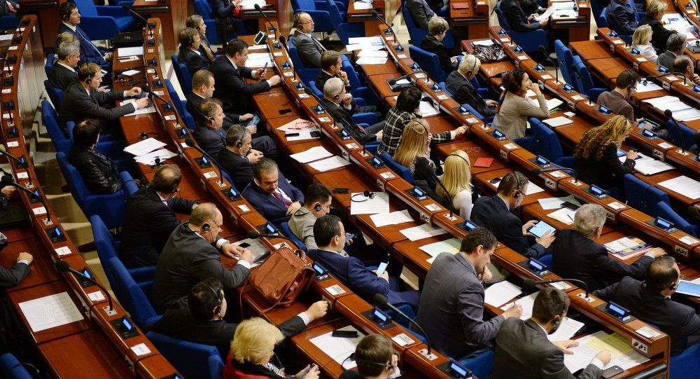 Delegates during a plenary meeting held as part of the winter session of the Parliamentary Assembly of the Council of Europe (PACE).